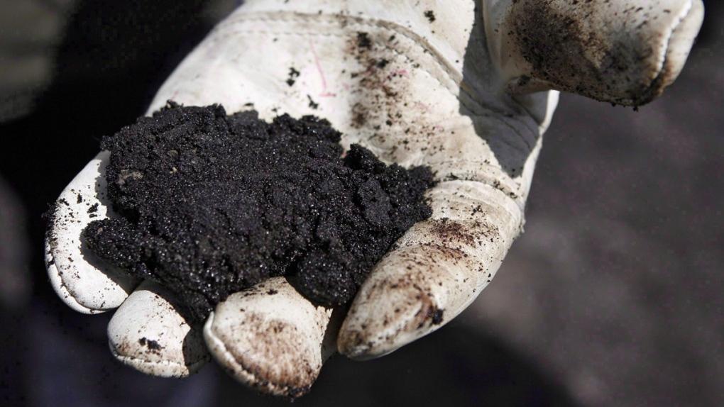An oil worker holds raw sand bitumen