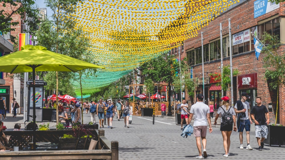 Balls form a canopy over Montreal's Gay Village. photo: Raphael Thibodeau