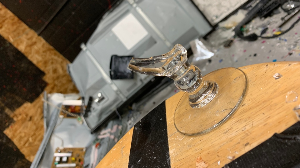 The remains of a glass after falling victim to a baseball bat at the Regina Rage Room. (Jessica Smith/CTV Regina)