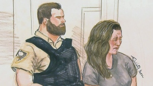 Lisa Batstone, convicted of the second-degree murder of her daughter Teagan, is shown in a court sketch.