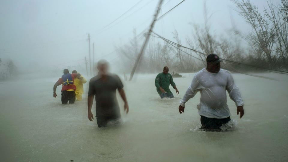 Volunteers walk under the wind
