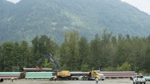 Pipeline pipes are seen at a facility near Hope, B.C., Thursday, Aug. 22, 2019. THE CANADIAN PRESS/Jonathan Hayward