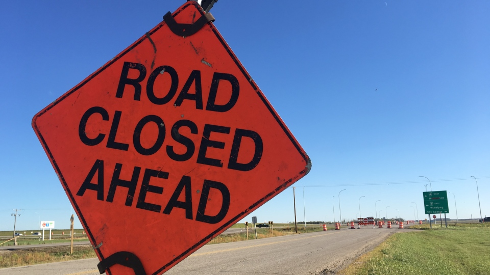 A road closed sign is seen on Tower Road near the intersection with Highway 1, where construction crews will be doing some work for the next few weeks. (Cole Davenport/CTV Regina)