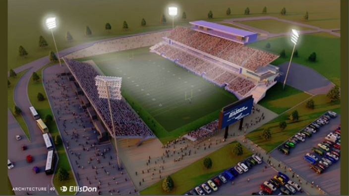 Included in the submission to the city last Friday was this artist's rendering of the latest version of the stadium.