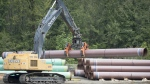 Pipeline pipes are seen at a Trans Mountain facility near Hope, B.C., on August 22, 2019. The Federal Court of Appeal is to reveal today whether a new set of legal challenges to the Trans Mountain pipeline project can proceed. The federal government has twice approved a plan to twin an existing pipeline from Alberta's oilpatch to the B.C. coast. THE CANADIAN PRESS/Jonathan Hayward