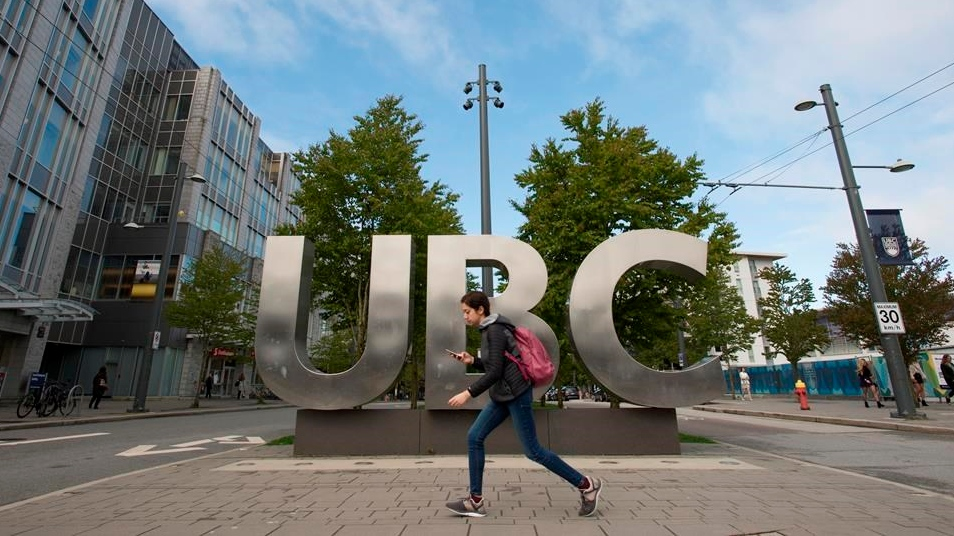 The UBC sign is pictured at the University of British Columbia in Vancouver, Tuesday, Apr 23, 2019. THE CANADIAN PRESS/Jonathan Hayward