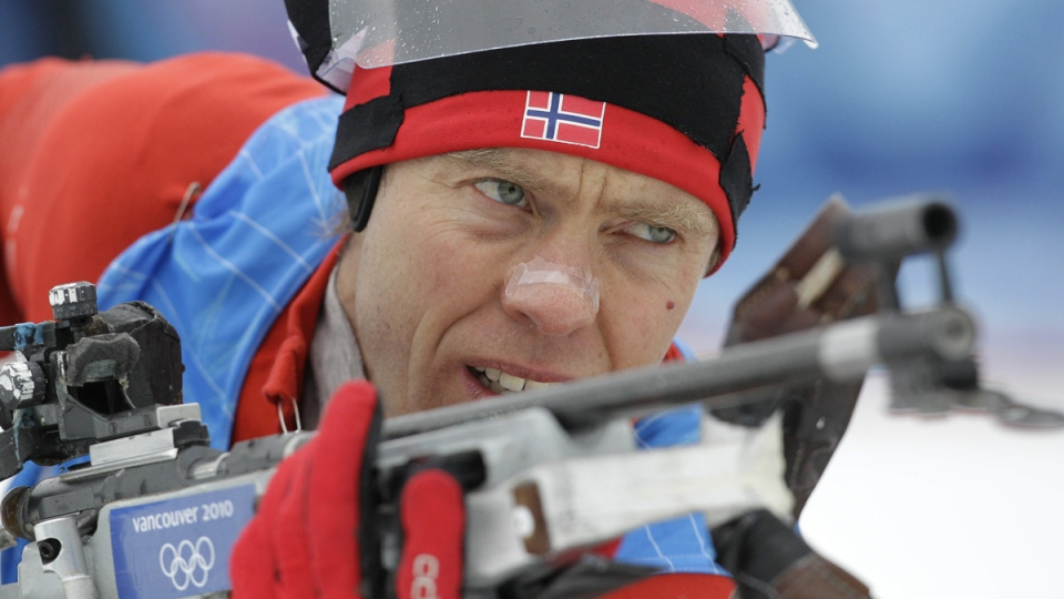 Norway's Halvard Hanevold at the shooting range during a training session in Whistler, B.C., on Feb. 25, 2010. (Jin-man Lee / AP)