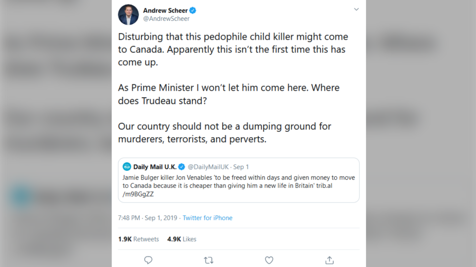 Conservative Party Leader Andrew Scheer tweeted a link to U.K. tabloid The Daily Mail's coverage of a story that suggested convicted U.K. child murderer Jon Venables was being sent to Canada to live under a new identity. The U.K. government confirmed Tuesday those claims are untrue. (Twitter)