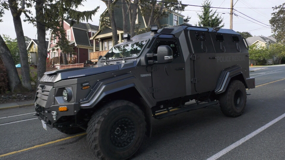 A police armoured vehicle arrives on scene Wednesday. (CTV Vancouver Island)