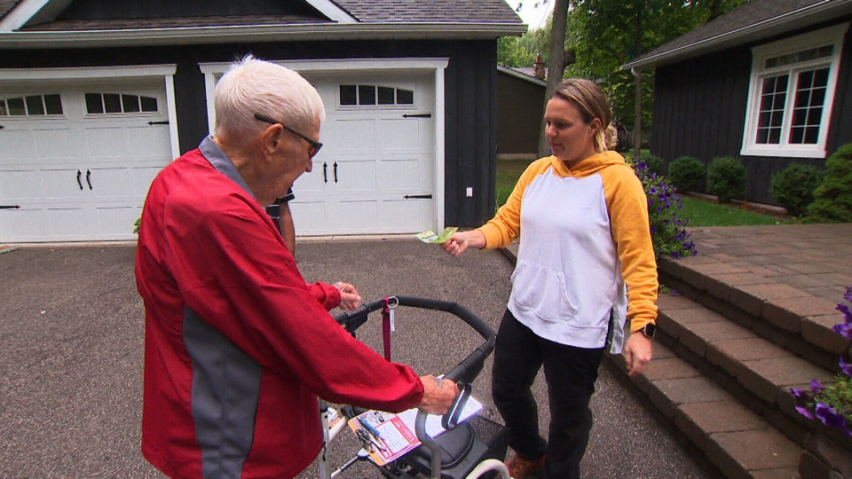 Will Dwyer, 94, goes door to door with his walker and his son, Robert, in order to collect donations for the Terry Fox Foundation. He has participated in the run for the past 39 years, and is aiming to hit $1 million raised before this year's run. (CTV News Channel)