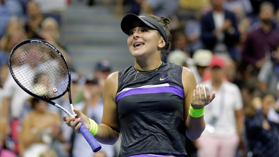 Canada's Bianca Andreescu reacts after defeating Elise Mertens, of Belgium, during the quarterfinals of the U.S. Open tennis tournament, Wednesday, Sept. 4, 2019, in New York. (AP Photo/Seth Wenig)