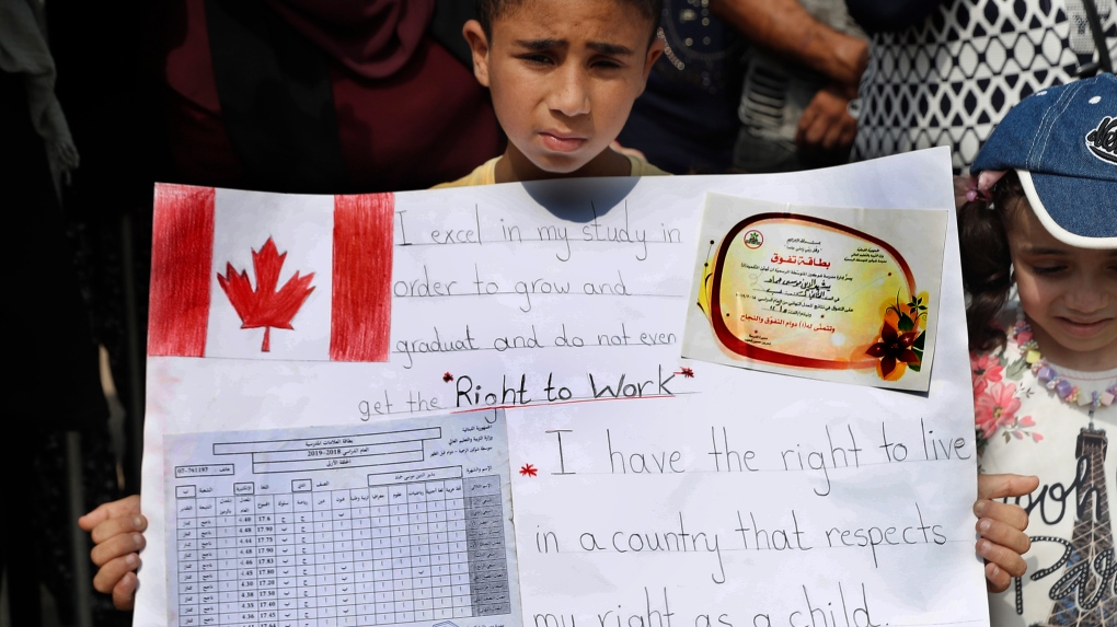 A Palestinian refugee boy