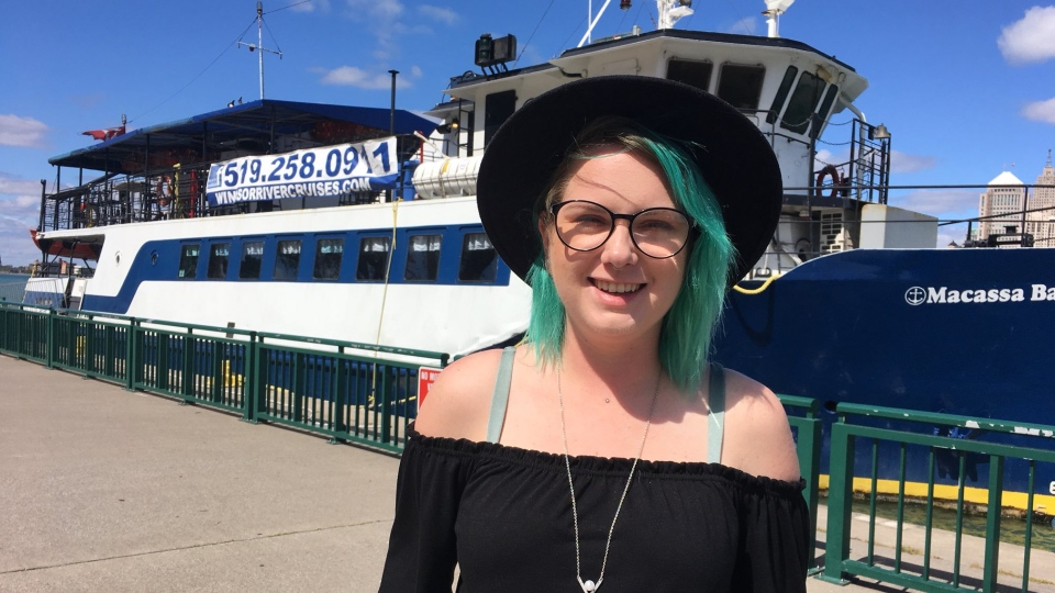 Jessilin Deschamps of Windsor River Cruises talks about the Cannabis Cruise coming to the Detroit River in Windsor, Ont., Sept. 4, 2019. (Chris Campbell / CTV Windsor)