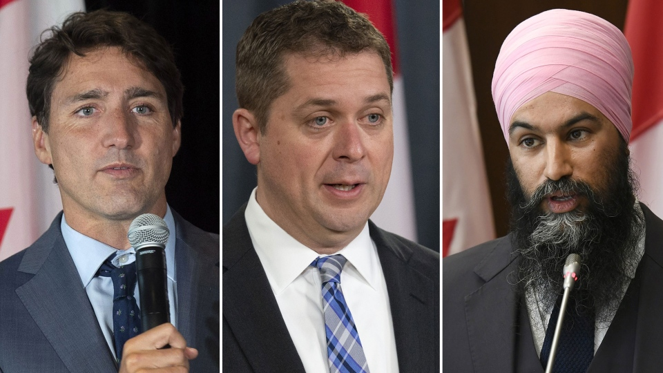 Justin Trudeau, Andrew Scheer, Jagmeet Singh. (THE CANADIAN PRESS)