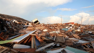 The extensive damage and destruction in the aftermath of Hurricane Dorian is seen in The Mudd, Great Abaco, Bahamas, Thursday, Sept. 5, 2019. (AP Photo/Gonzalo Gaudenzi)