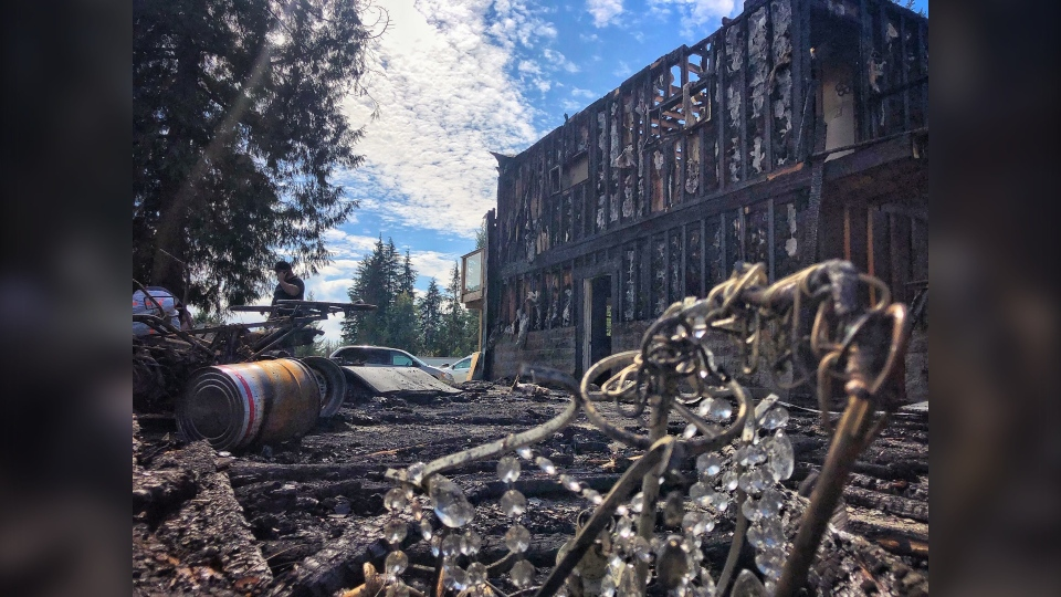 The charred remains of a barn the couple had planned to use for their wedding, luckily no one was hurt in the fire. (Penny Daflos/CTV News)