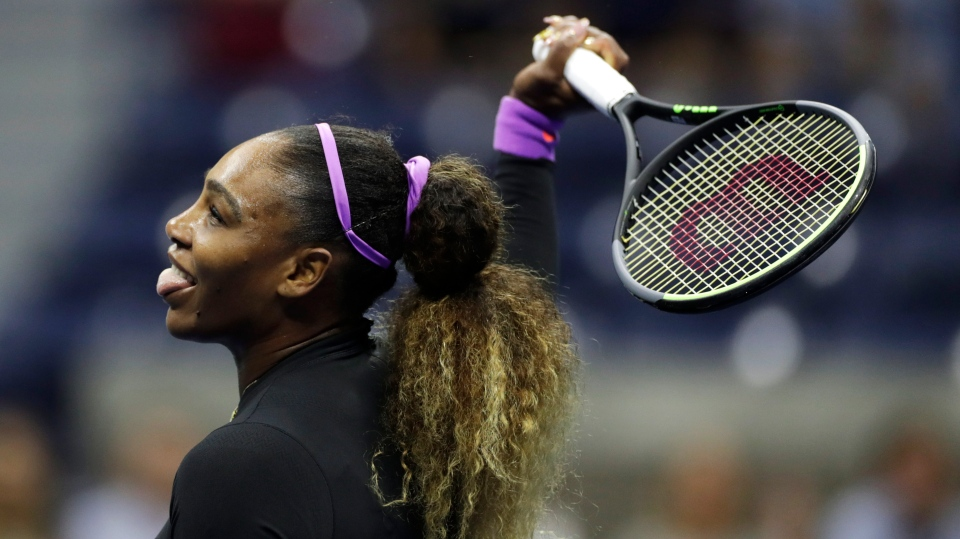 Serena Williams, of the United States, reacts after a shot to Elina Svitolina, of Ukraine, during the semifinals of the U.S. Open tennis championships Thursday, Sept. 5, 2019, in New York. (AP Photo/Adam Hunger)