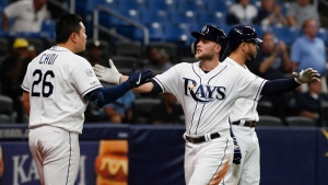 Tampa Ba Rays Austin Meadows, front right, celebrates his home run with teammate Ji-Man Choi during the seventh inning of a baseball game against the the Toronto Blue Jays, Thursday, Sept. 5, 2019, in St. Petersburg, Fla. (AP Photo/Scott Audette)