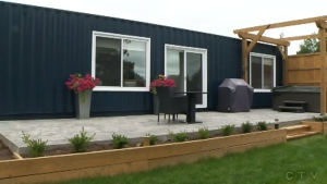 Couple transforming shipping containers