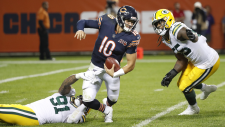 Green Bay Packers' Preston Smith sacks Chicago Bears' Mitchell Trubisky during the second half of an NFL football game Thursday, Sept. 5, 2019, in Chicago. The Packers won 10-3. (AP / Charles Rex Arbogast)