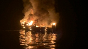 In this Sept. 2, 2019, file photo, provided by the Santa Barbara County Fire Department, a dive boat is engulfed in flames after a deadly fire broke out aboard the commercial scuba diving vessel off the Southern California Coast. (Santa Barbara County Fire Department via AP, File)