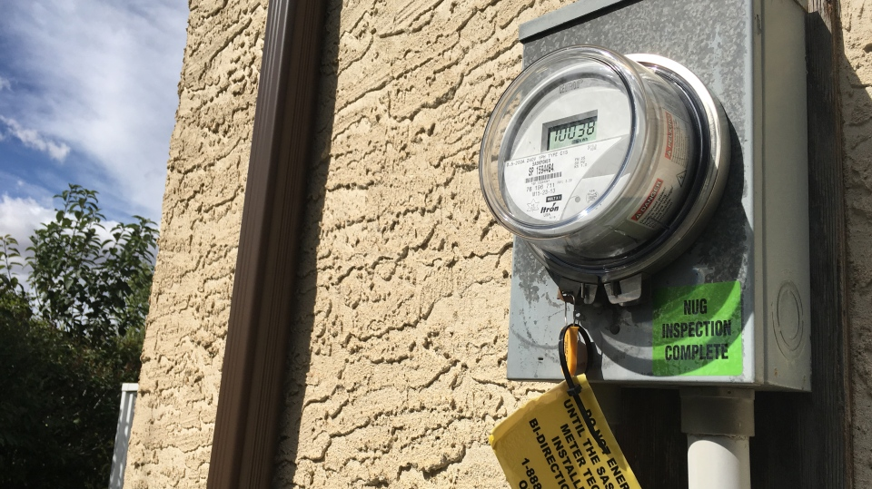 The power meter on the side of Brian LeGard's northwest Regina home is not currently equipped to send power from his solar panels back into the grid. (Cole Davenport/CTV Regina)