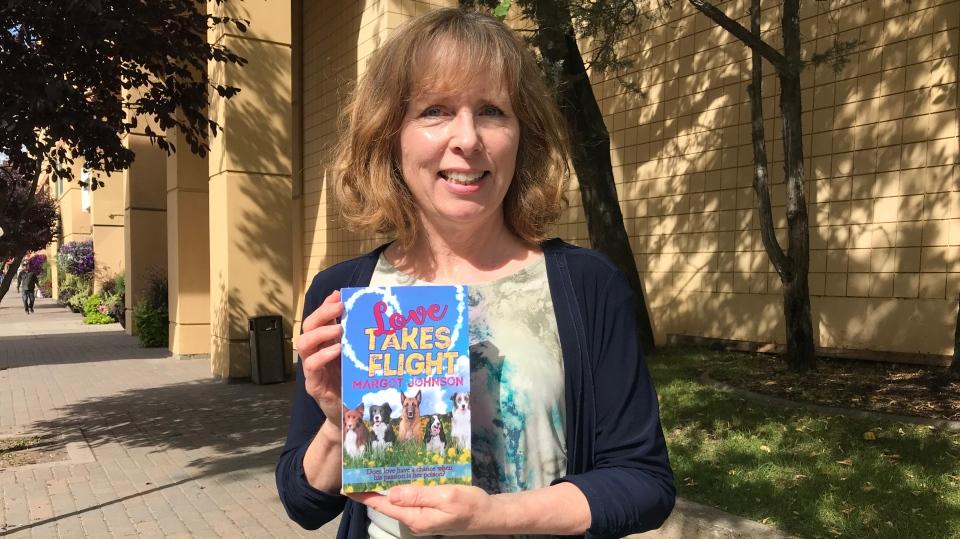 "Saskatchewan author Margot Johnson shows off her romance novel ""Love Takes Flight"" which is set in Moose Jaw."