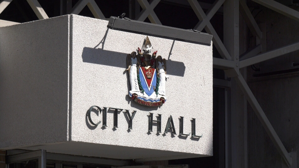 An entrance to Victoria city hall is shown: (CTV News Vancouver Island)