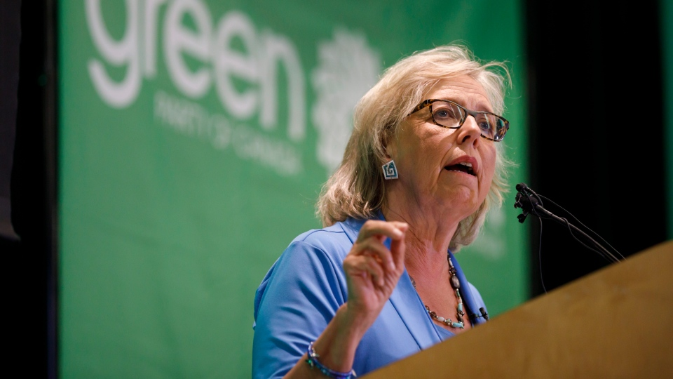 Green Party of Canada leader Elizabeth May speaks in Toronto prior to a fireside chat about the climate, Tuesday, Sept. 3, 2019. THE CANADIAN PRESS/Cole Burston