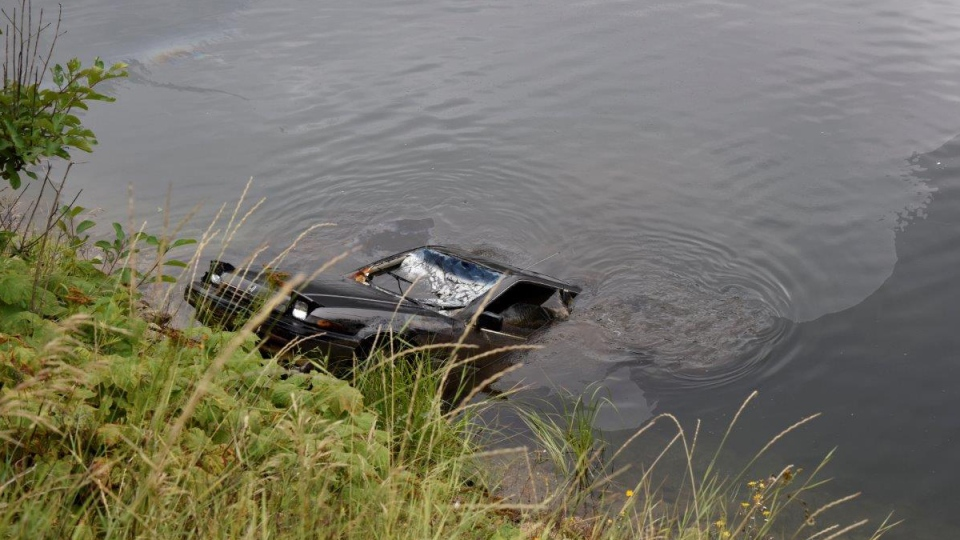 A Sherwood Park boy spotted this Honda Accord submerged in a lake near Revelstoke, B.C., and RCMP found a woman inside the car.