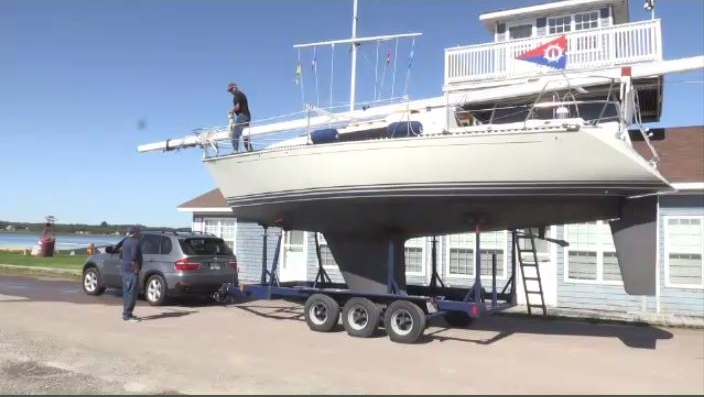This was the scene at the Shediac Bay Yacht Club, where some members were pulling their boats out of the water completely.