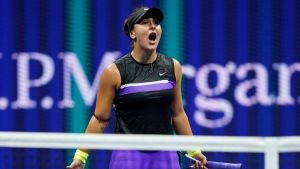 Bianca Andreescu, of Canada, reacts after defeating Belinda Bencic, of Switzerland, during the semifinals of the U.S. Open tennis championships Thursday, Sept. 5, 2019, in New York. (AP Photo/Eduardo Munoz Alvarez)