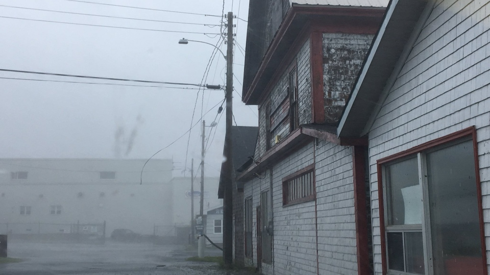 Heavy rains and strong winds batter Shelburne, N.S. on Saturday, Sept. 7, 2019 as Hurricane Dorian approaches. (Suzette Belliveau/ CTV Atlantic)
