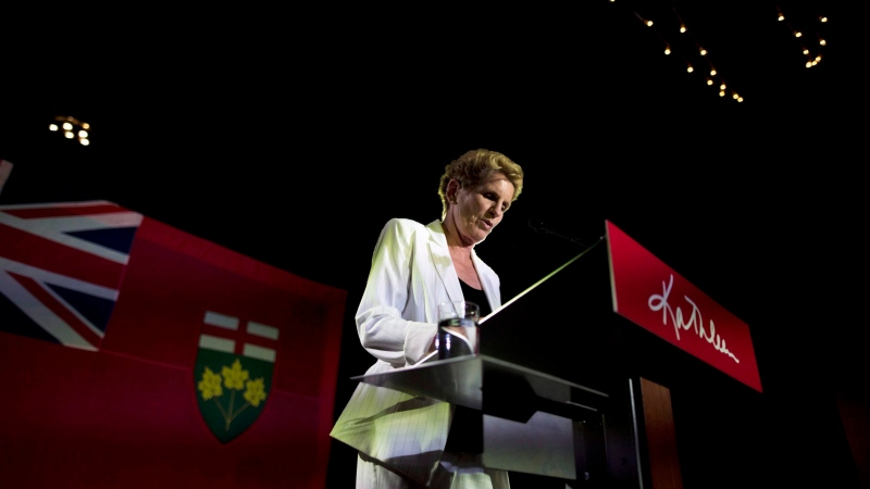Former Ontario Premier Kathleen Wynne announces to supporters that she is stepping away from her Liberal seat during her election night party at York Mills Gallery in on Thursday, June 7, 2018. Now, Kate Graham has announced she will be running for leader of the party. THE CANADIAN PRESS/ Tijana Martin