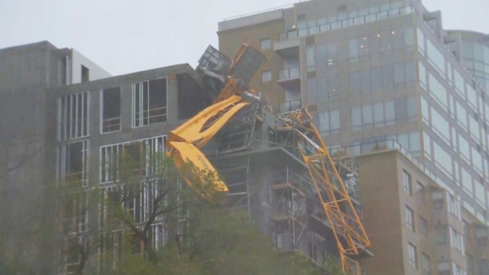A crane collapsed in downtown Halifax before Dorian makes landfall on Saturday, Sept. 7, 2019.
