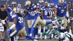 Winnipeg Blue Bombers' Janarion Grant (80) returns the kick for the touchdown against the Saskatchewan Roughriders during the first half of CFL action in Winnipeg Saturday, September 7, 2019. THE CANADIAN PRESS/John Woods