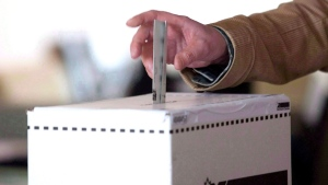 A person voting is shown in this file photo.