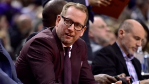 Toronto Raptors head coach Nick Nurse is seen on the bench during second half NBA basketball action against the Dallas Mavericks, in Toronto on Friday, Oct. 26, 2018. THE CANADIAN