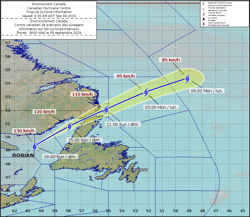 This image from the Canadian Hurricane Centre shows Dorian's projected track through Atlantic Canada as of Sunday morning. (Canadian Hurricane Centre)