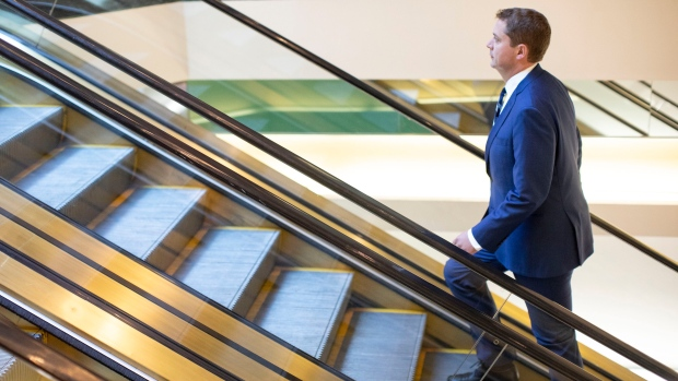 Federal Conservative Leader Andrew Scheer arrives for a news conference in Toronto, on Thursday, August 29, 2019. THE CANADIAN PRESS/Chris Young