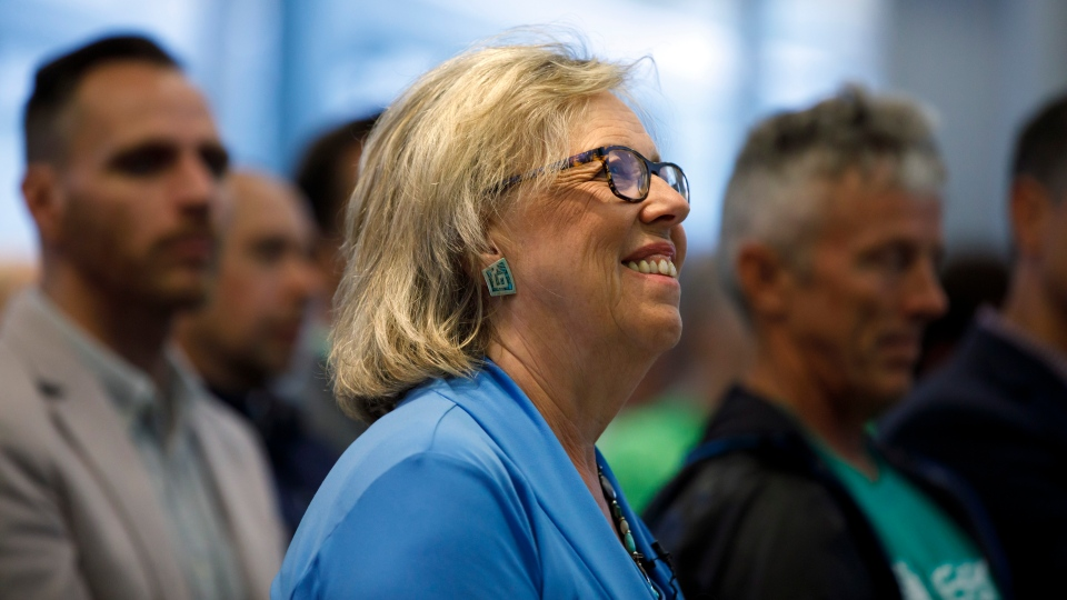 Green Party of Canada leader Elizabeth May is seen in Toronto prior to a fireside chat about the climate, Tuesday, Sept. 3, 2019. THE CANADIAN PRESS/Cole Burston