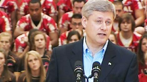 Prime Minister Stephen Harper speaks at Laval University in Quebec City on Thursday, Aug. 27, 2009.
