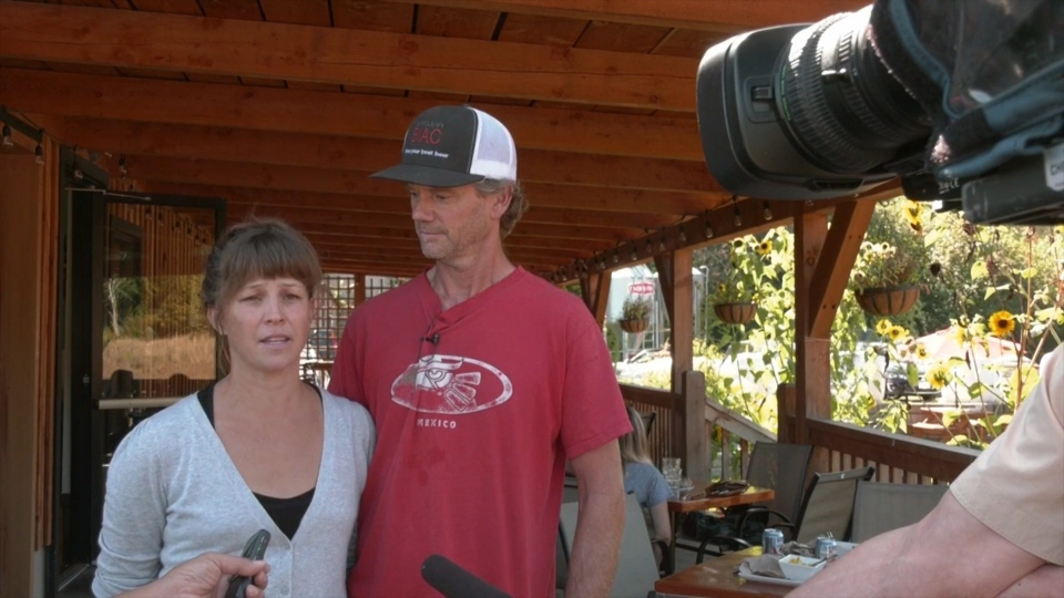 Jodie Lucas and Will Gemmell speak to media at their Rusted Rake Farm Eatery last week. (CTV Vancouver Island)