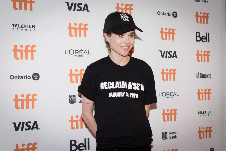 Director Ellen Page poses for a photograph on the red carpet for the film