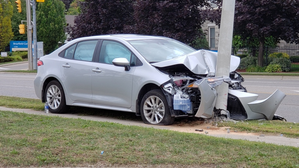 A car that crashed into a hydro pole