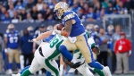 Winnipeg Blue Bombers quarterback Chris Streveler (17) gets set to throw against the Saskatchewan Roughriders during the second half of CFL action in Winnipeg Saturday, September 7, 2019. THE CANADIAN PRESS/John Woods