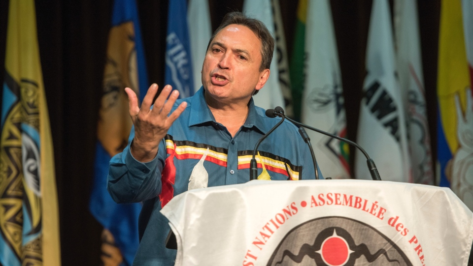 National Chief of the Assembly of First Nations Perry Bellegarde address the crowd during the conclusion of the AFN's Annual General Assembly in Fredericton, N.B., Thursday, July 25, 2019. THE CANADIAN PRESS/Stephen MacGillivray