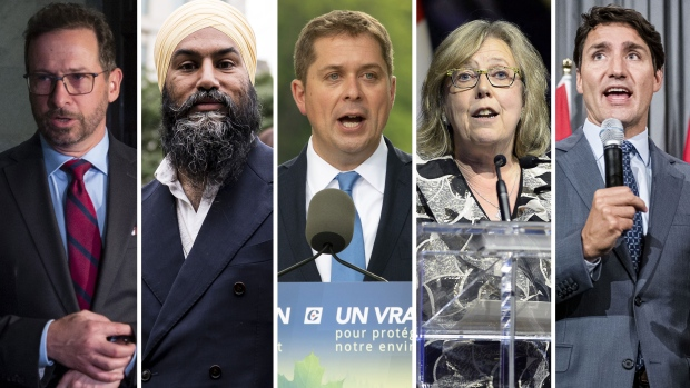 From left to right, Bloc Quebecois Leader Yves-Francois Blanchet, NDP Leader Jagmeet Singh, Conservative Party of Canada Leader Andrew Scheer, Green Party Leader Elizabeth May and Liberal Leader Justin Trudeau.