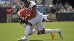 Kansas City Chiefs wide receiver Tyreek Hill (10) is stopped by Jacksonville Jaguars cornerback Jalen Ramsey (20) after a reception during the first half of an NFL football game Sunday, Sept. 8, 2019, in Jacksonville, Fla. (AP / Phelan M. Ebenhack)