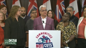 "The Canadian Union of Public Employees (CUPE) unveils the ""Communities Not Cuts"" campaign on Sept. 9, 2019."